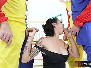 Dana Vespoli pummeled by creepy ample rod clowns
