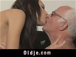 old chief spoiling the horny labia of his Romanian maid
