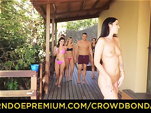 CROWD restrain bondage Outdoor pool orgy for super hot Loren Minardi
