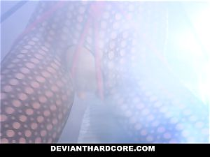 DeviantHardcore - enslaved teen Gags On immense trunk